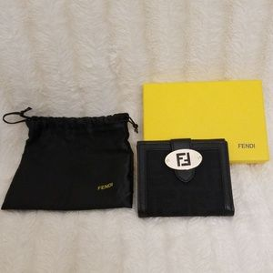 FENDI Canvas Monogram and leather small wallet